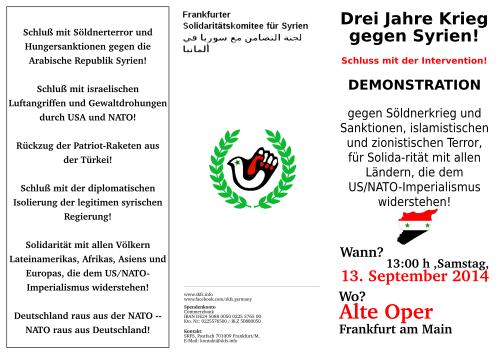 Demo 13.9.2014, 13 Uhr in Frankfurt am Mai, Alte Oper: Drei Jahre Krieg gegen Syrien - Schluß mit der Intervention!